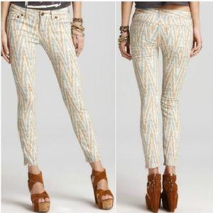 FREE PEOPLE Ikat Print Skinny Jeans Size 27